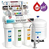 Express Water 11 Stage UV Ultraviolet + Alkaline pH + Reverse Osmosis Home Drinking Water Filtration System 100 GPD RO Membrane + Deluxe Faucet ROALKUV10D
