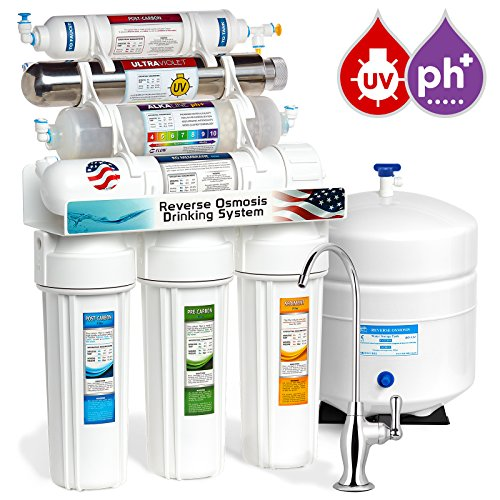Express Water 11 Stage UV Ultraviolet + Alkaline pH + Reverse Osmosis Home Drinking Water Filtration System 100 GPD RO Membrane + Deluxe Faucet ROALKUV10D by Express Water