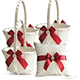 Roman Store Ivory Ring Bearer Pillow and Basket Set   Lace Collection   Flower Girl & Welcome Basket for Guest   Handmade Wedding Baskets & Pillows (RED)