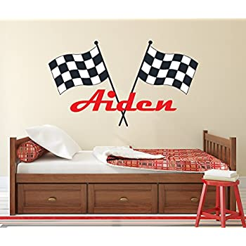 Custom racing name wall decal for boys race car theme nursery baby room mural art decor vinyl sticker ld20 18w x 10h