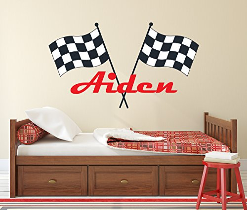 "Lovely Decals World LLC Custom Racing Name Wall Decal for Boys Race Car Theme Nursery Baby Room Mural Art Decor Vinyl Sticker LD20 (38"" W x 22"" H)"