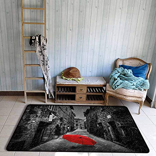 Children's Rug Black and White Red Umbrella on a Dark Narrow Street in Tuscany Italy Rainy Winter Quick and Easy to Clean W63 xL94.5 Grey Vermilion