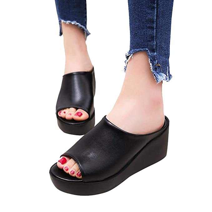 7dddcf0b2ae9b Women Summer Wedges Platform Shoes Fashion Leisure Fish Mouth Sandals Thick  Bottom Outdoor Slippers