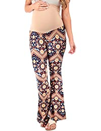 Women's Stretchy Maternity Palazzo Pants with Tummy...