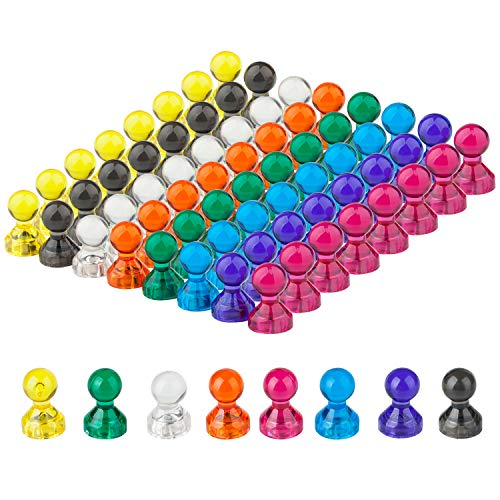 - 8 Assorted Colors Push Pin Magnets, Refrigerator Magnets, 64 Bulk Pack Perfect For Home, School, Classroom and Office Magnets, Use for Fridge Calendar Map and Whiteboard Magnets