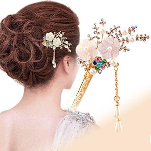 YABINA Fashion Hair Decor Flower Rhinestone Chinese Traditional Style Women Wedding Party Hair Stick Hairpin (Colorful)