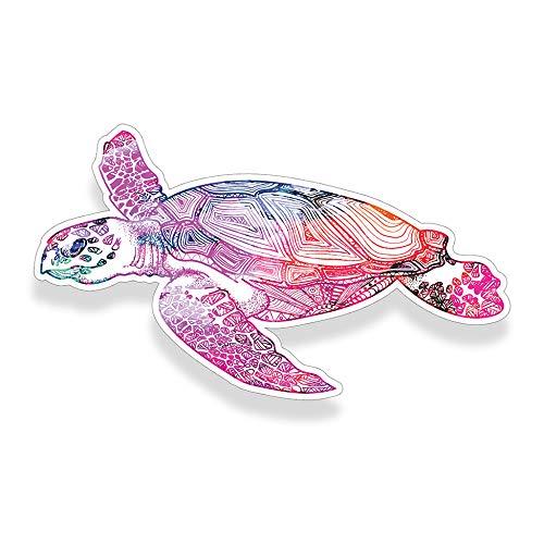 Sea Turtle Sticker Pink White Watercolor Car Window Bumper Decal Custom Printed Ocean Beach Sea Animal Die Cut Vinyl Graphic ()
