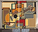 Acoustic Curtains Music Decor Curtains by Ambesonne, Funky Fractal Geometric Square Shaped Background with Acoustic Guitar Figure Art, Living Room Bedroom Window Drapes 2 Panel Set, 108W X 63L Inches, Multi