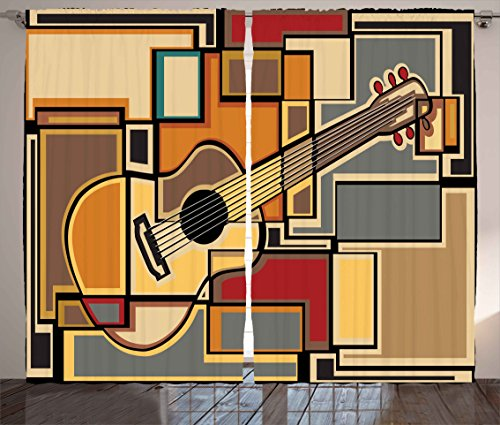 Ambesonne Music Decor Curtains, Funky Fractal Geometric Square Shaped Background with Acoustic Guitar Figure Art, Living Room Bedroom Window Drapes 2 Panel Set, 108 W X 63 L Inches, Multi