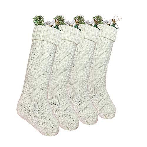 "Sattiyrch Knit Christmas Stockings 4 Pack 18"",Large Size Stocking Decorations for Holiday Decor,Burgundy and Ivory White (Ivory White)"