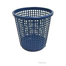 10L Blue Grid Pattern Plastic Kids Bathroom Room Waste Basket Trash Garbage Can
