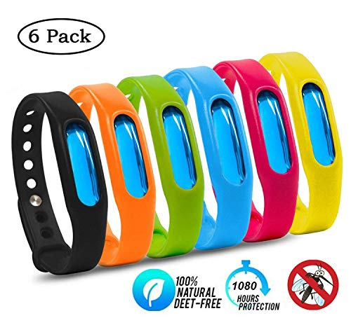 Mosquito Waterproof Repellent Bracelet Insect Repellent Bands 6 Pack, Non-Toxic Travel Insect Repellent, Safe for Kids & Adults, Keeps Bugs Away