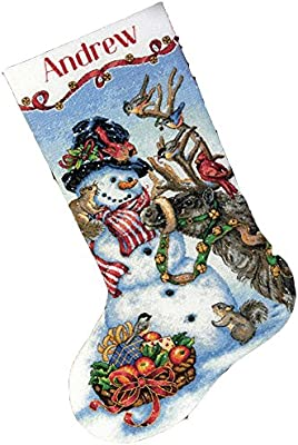 Counted Cross Stitch Kit SANTA /& SNOWMAN Stocking Dimensions Christmas