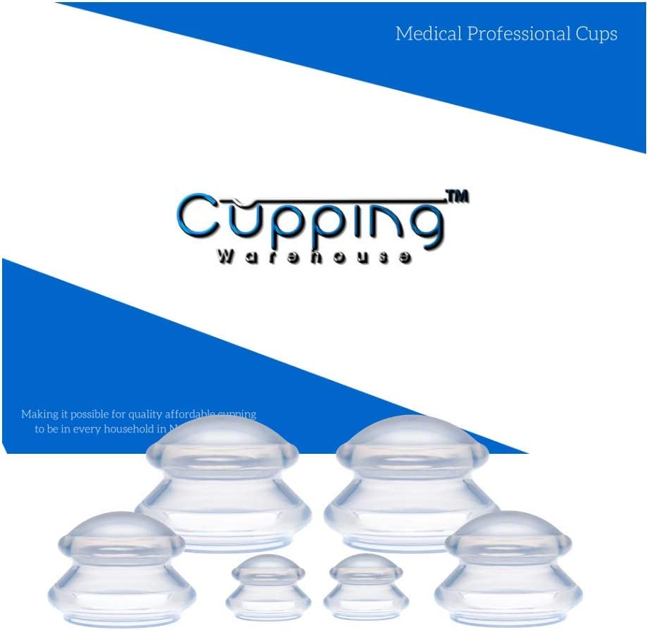 Cupping Warehouse Supreme Deep PRO 6065- 6 Cups - (3 Sizes -Does Not Include the X-Large) Professional Clear Silicone Chinese Massage Cupping Therapy Sets Anti Cellulite, Muscle, Fascia, Lymph