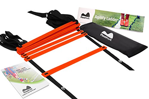 Reehut Agility Ladder w/ FREE USER E-BOOK + CARRY BAG - Speed Training Equipment (Red, 8 Rungs)