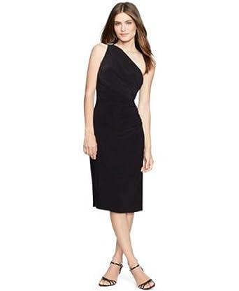 670bc50e19 Amazon.com  Lauren Ralph Lauren Embellished One-Shoulder Dress Black 10   Clothing