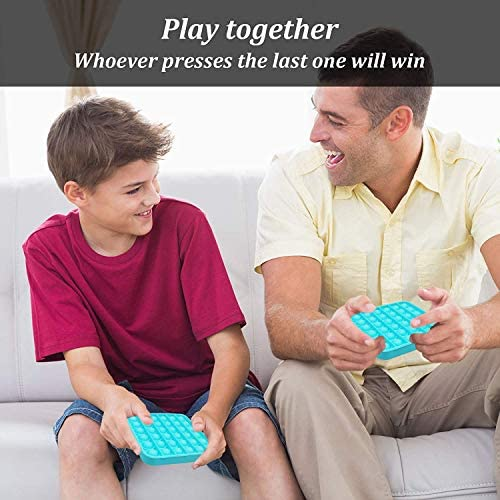 Push Pop Bubble Fidget Toy, Squeeze Sensory Toy, Silicone Stress Reliever Toy, Sensory Irritability Toy for Autism with Special Needs to Relieve Stress for Kids and Adults(Square Light Blue)