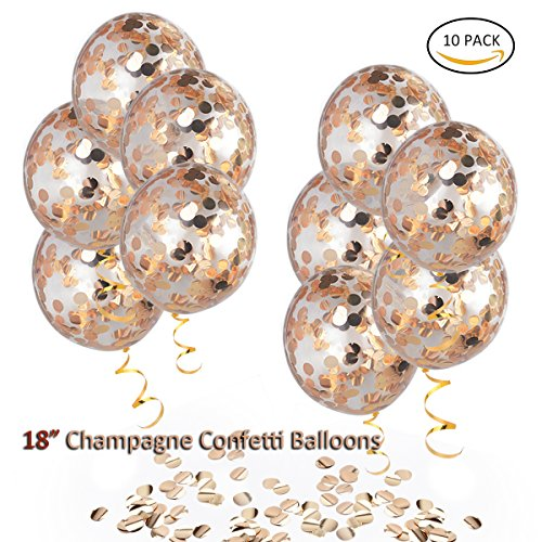 HoveBeaty Champagne Rose Gold Confetti Balloons, Round 18'' Party Balloons Latex Transparent Champagne Balloons with Gold Ribbon for Wedding, Proposal, Birthday Party Decorations (10 Pack)