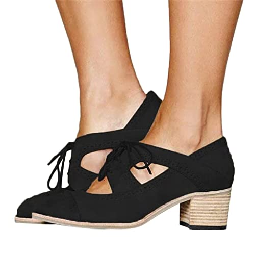 Zapatos de Tacón Medio Grueso para Mujer Primavera Verano 2019 PAOLIAN Sandalias de Vestir Fiesta Elegantes Hueco Tallas Grandes Zapatos de Zuecos Cordones ...