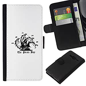 YiPhone /// Tirón de la caja Cartera de cuero con ranuras para tarjetas - La bahía del pirata - Samsung Galaxy Core Prime
