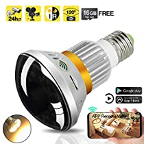 16GB 720P HD WiFi Hidden Nanny Camera LED Light Bulb Camcorder with IR Night Vision, Support Remote View, Motion Activated and Loop Recording