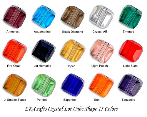 Lot 300pcs Cube ( Similar cut #5601) 8mm Crystal Beads 15 colors with storage box (#1) (8mm 5601 Cube Swarovski Crystals)