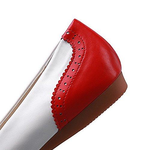 AllhqFashion Mujeres Mini Tacón Colores Surtidos De salón con Ornamento de Encaje Rojo