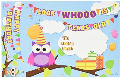 Edupress Happy Birthday Owls Bookmark Awards - Edupress Awards