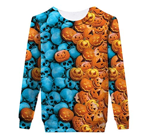Comaba Womens Long Sleeve 3D Print Halloween Party Unisex Pullover Shirt 5 L ()