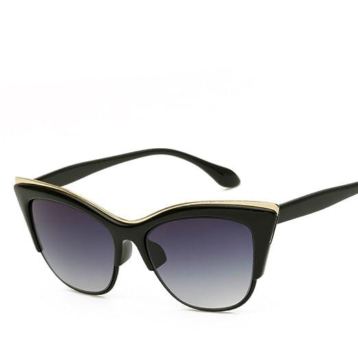 6ee8a9bb30 Vintage Cateye Sunglasses for Women Retro Cat Eye Half Rimmed Plastic Frame  (Black