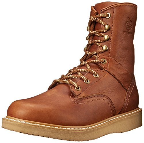 Georgia Boot Men's 8 Inch Wedge Work Shoe, Barracuda Gold, 10 M US (Steel Resistant Slip Wedges Toe)