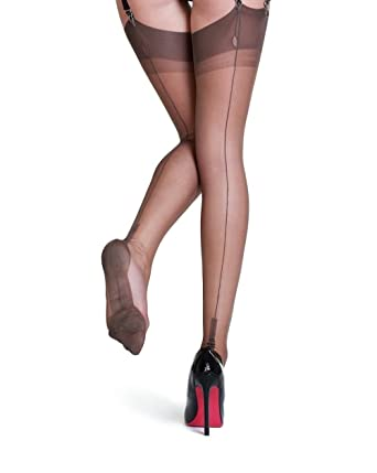 5a42676e0 Gio 100% Nylon Cuban Full Fully Fashioned Stockings at Amazon ...