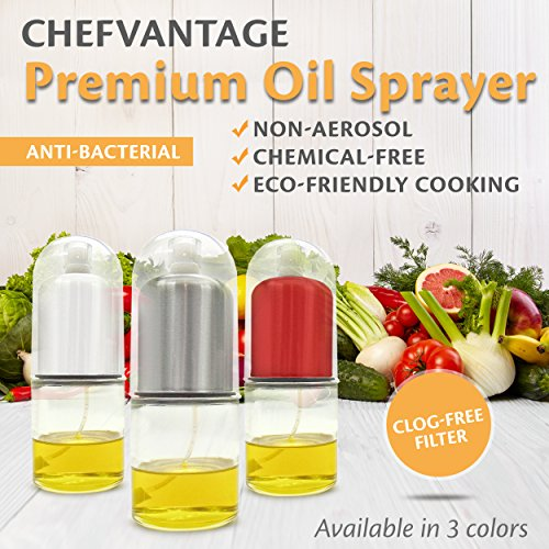 Premium Olive Oil Mister and Cooking Sprayer with Clog-Free Filter and Glass Bottle