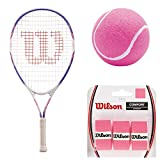 Wilson Serena Williams Girl's Pre-Strung Junior Tennis Racquet Starter Set or Kit Bundled with (3) Pink Tennis Balls and 3-Pack of Pink Overgrips (Best Junior Racket for Kids Ages 3-10)