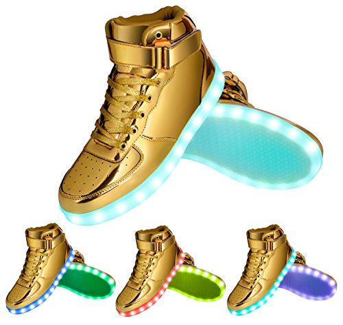 GreatJoy Kids/Adults Cool Gift Gold Light Up LED Shoes/Sneakers 7 Color Flashing Pattern USB Rechargeable Gold Zi6B0t