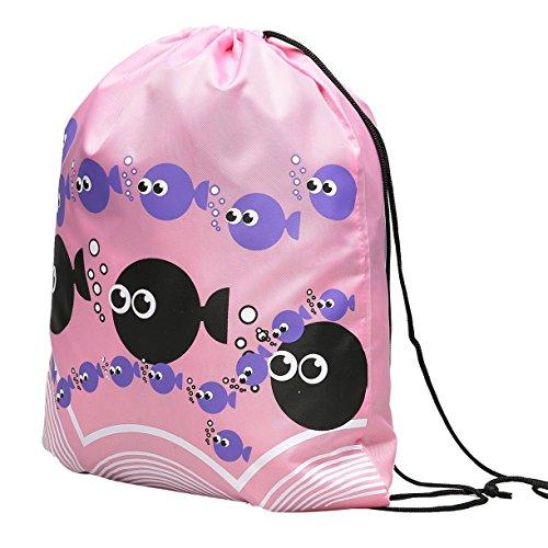 Swimming Drawstring Beach Bag Sport Gym Waterproof Backpack Duffle Pink - 2