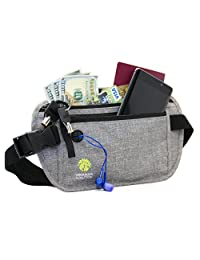 Organizer Solution Travel Money Belt with RFID Blocking, Passport Wallet, Hidden Travel Waist Pouch (Grey)