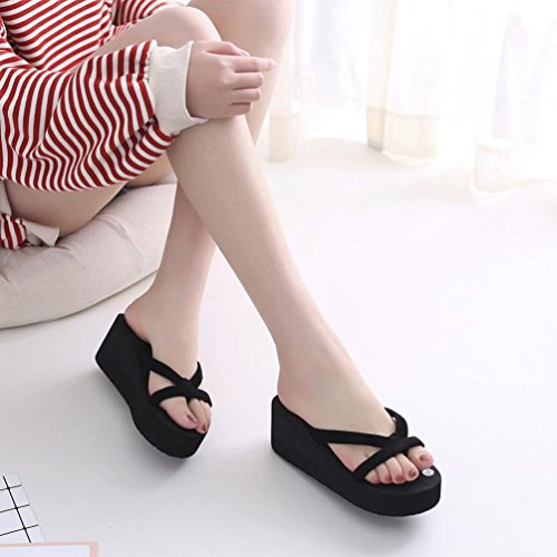 spiaggia Donna estate Sandali pantofola Donna Nero Ragazze infradito Donna Amlaiworld moda scarpe suola zeppa Amlaiworld pantofola Pw0Xqn