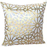 "HOMETALE® Gold Foil Geometric Print Decorative Throw Pillow COVER 18"" Beige"
