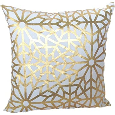 HOMETALE® Gold Foil Geometric Print Decorative Throw Pillow COVER 18  Beige