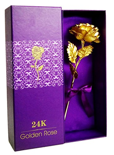 TENEW Golden Color Plastic Foil Rose with Acrylic Base Vase & Giftbox (Purple)
