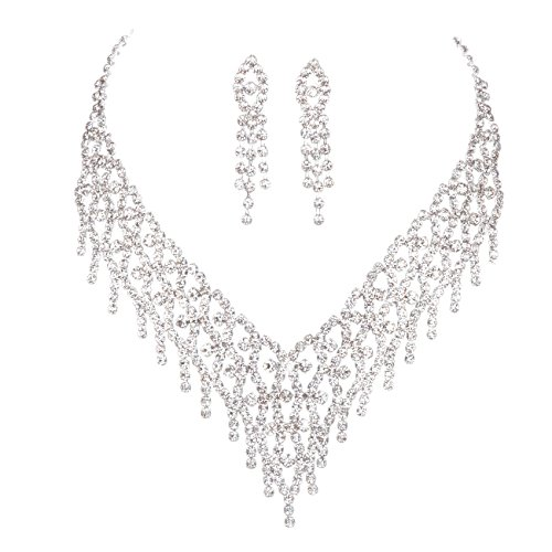 FAYBOX Sparkly Rhinestone Beaded Choker Necklace Earrings Wedding Jewelry Sets