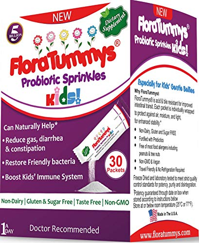 FloraTummys Probiotic Sprinkles for Kids: 30 Taste-Free, Powder Packets, Free of Food Allergies, Non-Dairy, Gluten & Sugar-Free, Non-GMO, Vegan. 5 Billion CFU, B. Lactis, L. Acidophilus, by FloraTummys