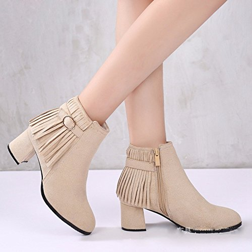 Tassels Middle Winter And Suede Fashionable eight Heel KPHY Women'S Boots Autumn Zipper Martin Shoes Thirty Fashion Women'S Shoes OHznUqnA