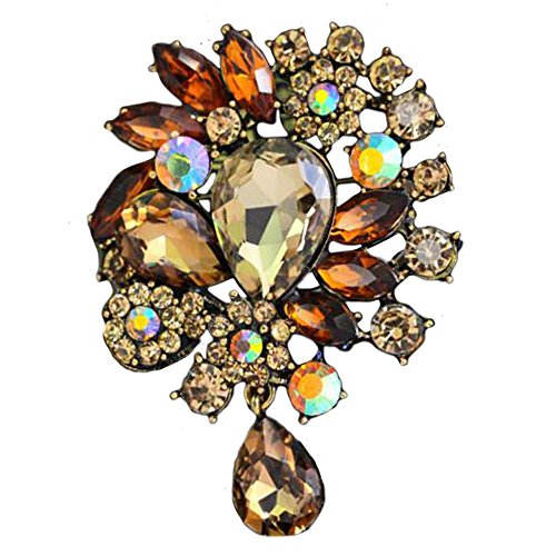 Jiada Alloy Retro Floral Brooch Bling Rhinestone Acrylic Pins Clothing Accessory for Women (Ancient gold-champagne) (Alloy Acrylic)