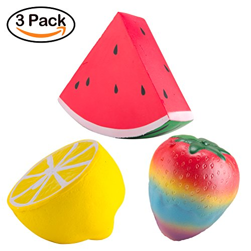 WATINC 3 PCS Fruit Squishies, Kawaii Cream Scented Slow Risi