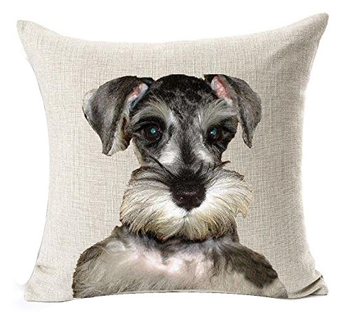 Cotton Linen Cartoon Lovely Animal Abstract Watercolor Adorable Pet Dogs Little Bichon Havanais Havana Throw Pillow Covers Cushion Cover Decorative Sofa Bedroom Living Room Square 18 Inches ()