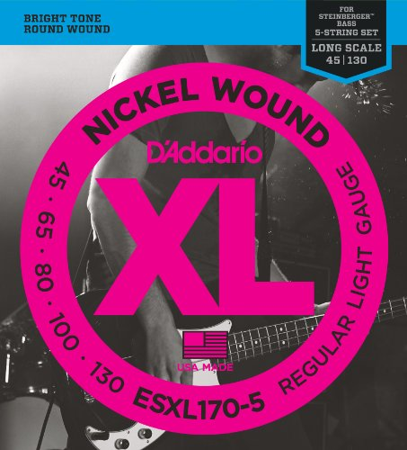 D'Addario ESXL170-5 5 Nickel Wound 5-String Bass Guitar Strings with Long Scale and Double Ball End, Light, 45-130 (Guitar Bass Steinberger)