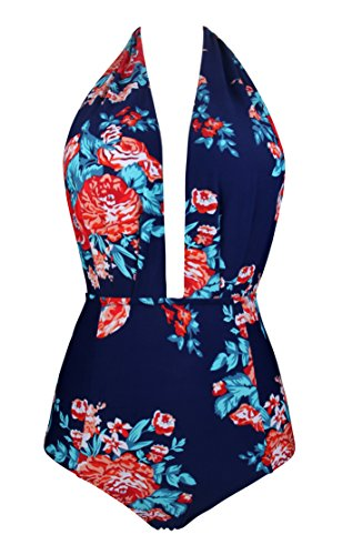 Bather Swimsuit Womens One Piece Floral swimsuitsRed Flower,(US 4-6) - Womens Bathers
