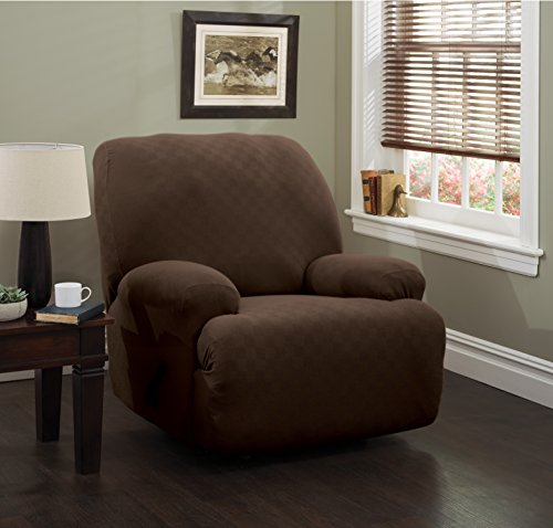 - Stretch Sensations 849203017527 Newport Jumbo Recliner Stretch Slipcover, Chocolate